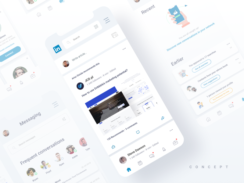 LinkedIn redesign concept minimalist design mobile application clear smooth concept ux ui redesign app