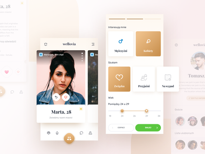 Dating app product modern mobile iphone ios interface graphic design dating digital creative color card concept clean app ux simple design minimal ui