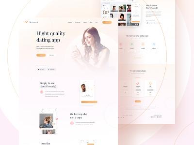 Premium Dating App - Landing page icon interface graphic design digital color web orange vector white card website clean app simple design minimal ui