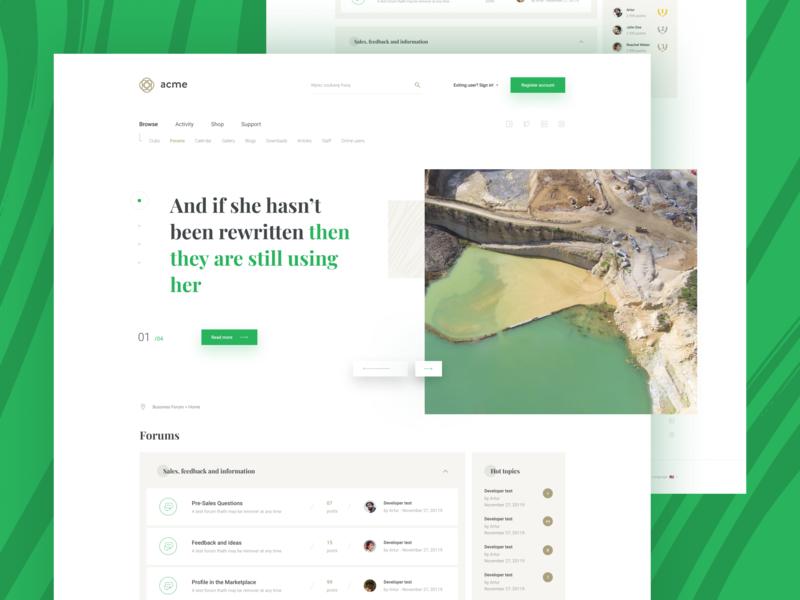 Elegant forum bussiness elegant ux green interface graphic design digital color card white website web clean simple design minimal ui
