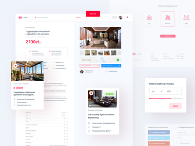 Apartments renting red vector daily interface graphic design digital color card white website web ux clean simple design minimal ui