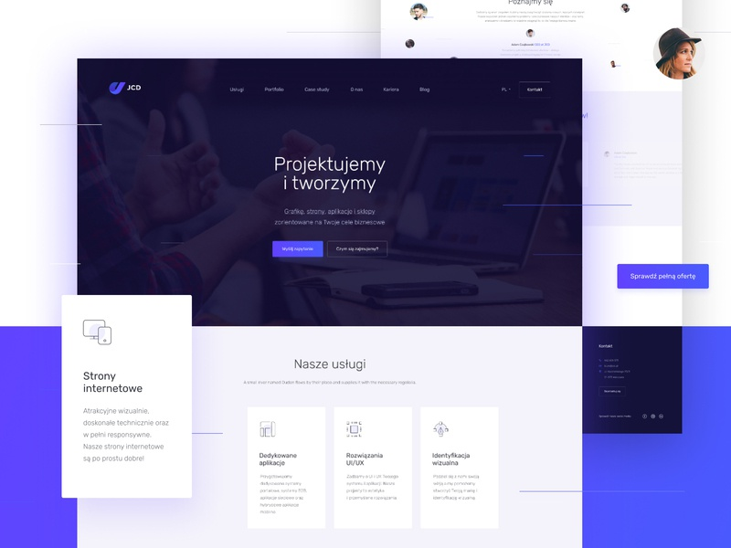 JCD website lifting purple blue simple redesign branding daily graphic design digital color card white website web ux clean design minimal ui