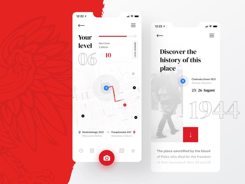 Memorial Places App history ww2 color app ux clean simple minimal design ui