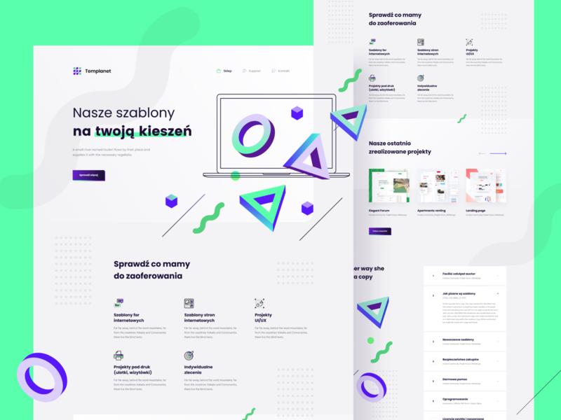 Templanet website web card color ux clean simple minimal design ui