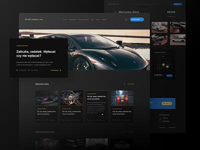 Renting Car ux simple digital clean premium gold renting cars website card web color uiux design dark ui