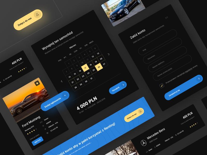 Renting Car UI Elements web interface card color ux clean minimal simple design ui