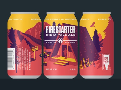 Firestarter IPA outdoors cabin scenic mountain packaging illustration colorado can brewing bonfire beer