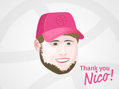 Nico head face dribbble cap thank you nico illustration
