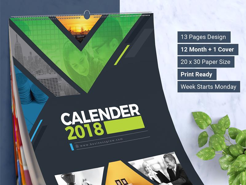 2018 Wall And Desk Calendar Design Template By Contestdesign