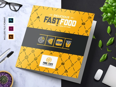 Fast Food TriFold Brochure Template By ContestDesign Dribbble - Food brochure templates
