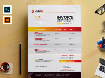 Clean Invoice Template By ContestDesign Dribbble - Corporate invoice template