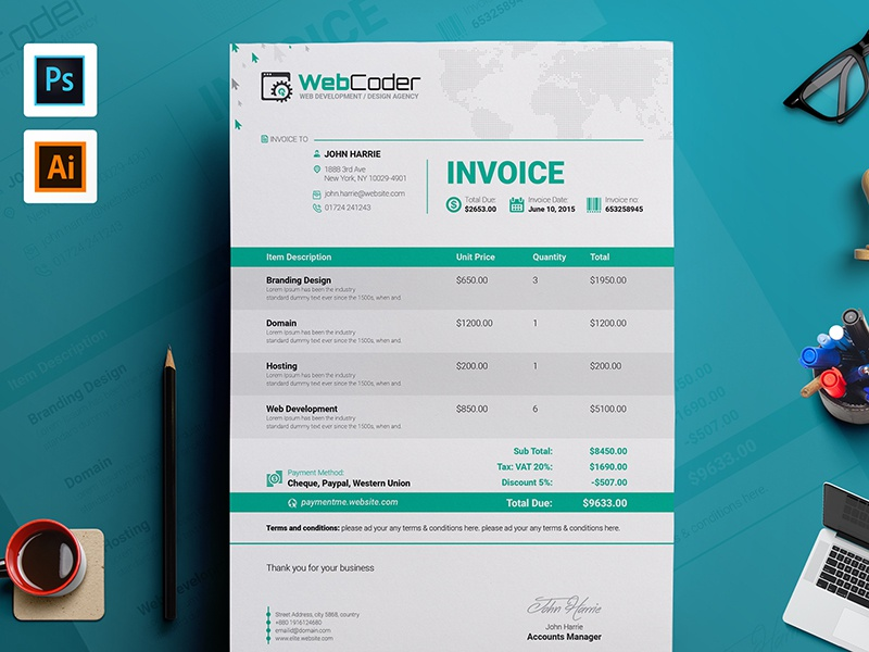 Simple Clean Invoice Template By Contestdesign Dribbble Dribbble