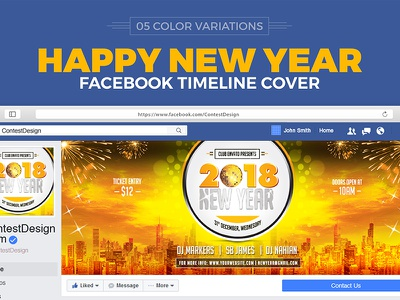 2018 New Year Facebook Cover happy new year new years eve year 2018 2018 party christmas 2018 new year 2018 new year 2018 facebook ad facebook template facebook cover