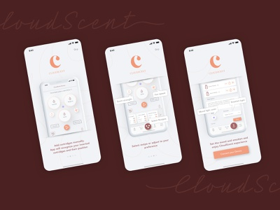 Aroma diffuser app onboarding diffusion diffuser aromatherapy aromamusk uiux uxdesign uidesign interface ux ui