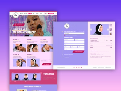 Beauty product e-commerce checkout process checkout page landing page design landing page web ux ui webdesign makeup hijab beauty product e-commerce shop ecommerce