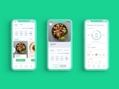 Meal planning app in green UI diet meal meal plan wellness app fitness fitnessapp ios app ios mobile app mobileapp mobile ux ui