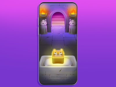 Dungeon background cat mobile game illustration dungeon game background