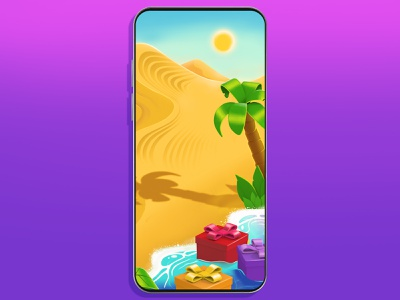 Desert sea palm concept game casual background illustration desert