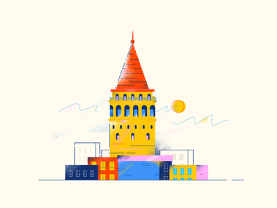 Galata istanbul galata build illustration vector city