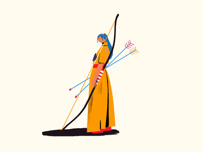 Archer warrior character design doodle illustration archer