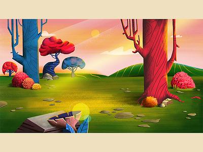 Background forest style frame background art tree magical nature landscape background illustration