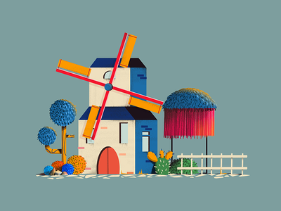 Windmill cactus game design illustration windmill
