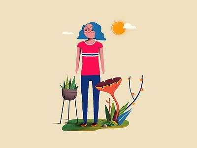Girl future flower concept character illustration girl