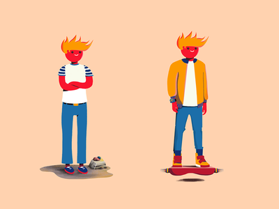 Characters future hoverboard style frame game art boy illustration character design
