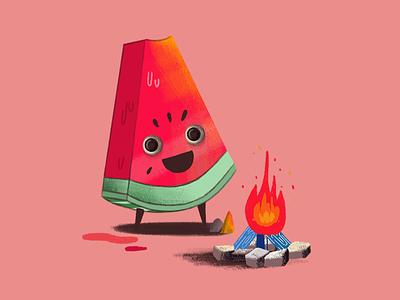 karpuz character characterdesign fire watermelon