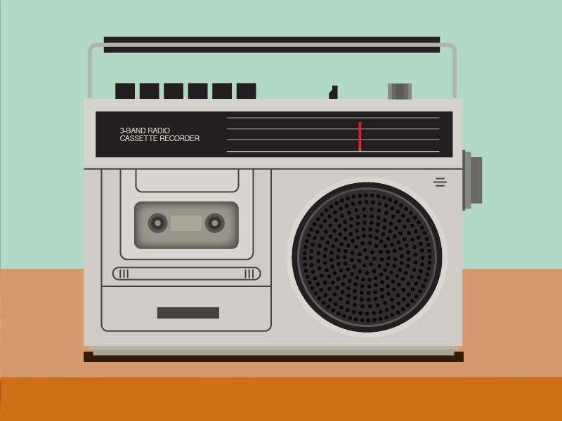 Cassette Jams radio cassettes vector old school