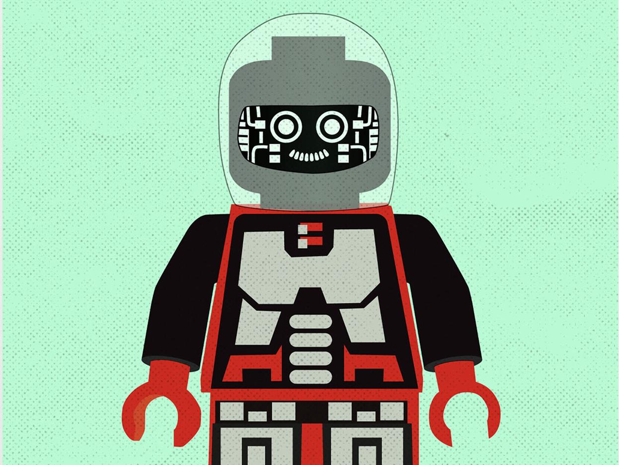 Lego Cyborg Poster retro illustration vector lego