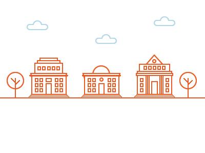 Buildings building orange tree cloud school university icon buildings pixel
