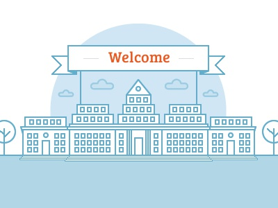Welcome building university icon flat building sky blue