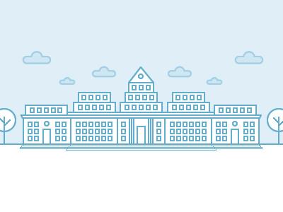University building pixel orange tree cloud school university icon