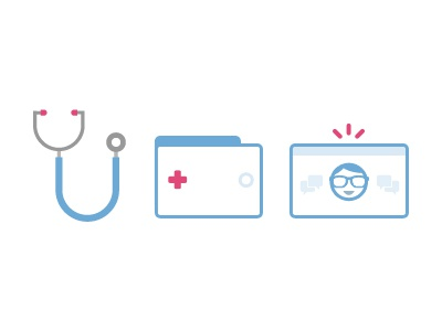 Talk with a doctor online doctor online medical hospital icons flat