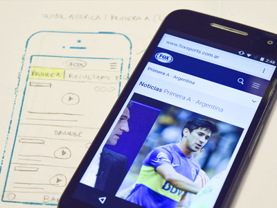 Design process for FOX Sports Latam aerolab buenos aires argentina mobile ui ux article responsive blue share video mockup
