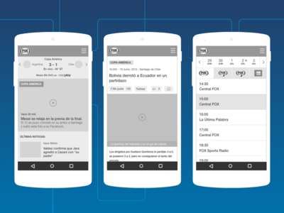 Mobile wireframes - FOX Sports Latam tv schedule mockup video share responsive article ux ui mobile