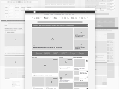 Desktop wireframes - FOX Sports Latam tv schedule mockup video share responsive article ux ui mobile