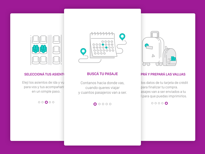 Onboarding  suitcase tickets calendar seats bus onboarding travel icons illustrations