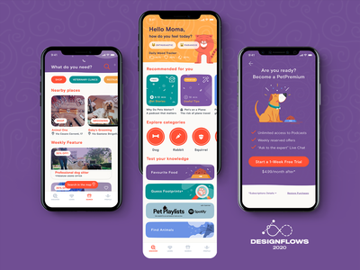 Pets Lover App | Designflows 2020 Contest paywall designer illustration pets design interface design mobile app pet lover app design app designflows2020 user interface ui ui pattern mobile design mobile designflows contest pet lover app design app