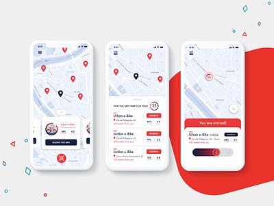 Rent a bike! - UI/UX design interface design application sharing app vibrant colors mobile design mobile custom map maps app ui design ui design uidesign ui  ux uiux app ui ux app ui app design app