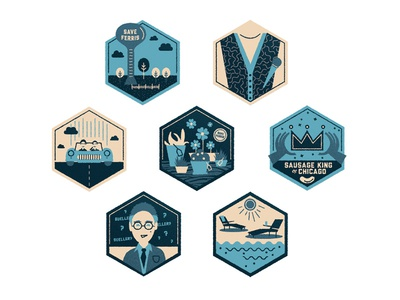 Ferris Bueller's Day Off Badges john hughes 80s teen movie flick ferris bueller sausage crown water tower trees sweater vest water sun clouds car teacher badges icons monotone line skillshare microphone hands save fence texture flowers