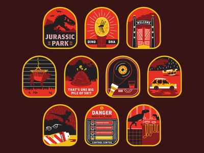 Jurassic Park Badges rain mosquito illustration jeep dna dino icons badges dinosaurs movie park jurassic