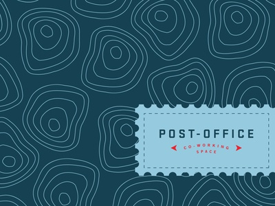 Post-Office Pattern travel location stamp branding logo design logo working coworking space post post office