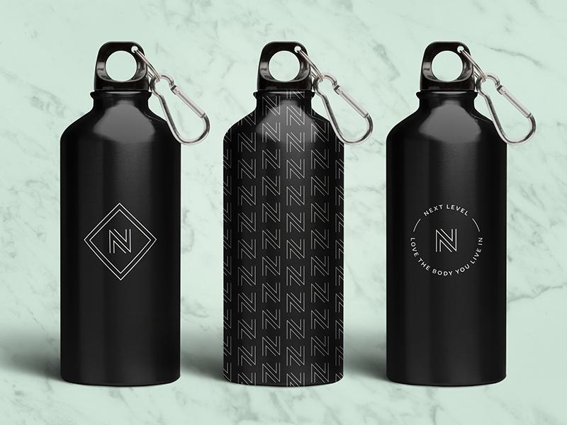NLN Water Bottles pattern logo mark body water coach fitness coaching nutrition n next level next