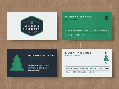 Murphy Shoots Business Cards video photo photographer adventure business cards badge design badge tree logo design logo