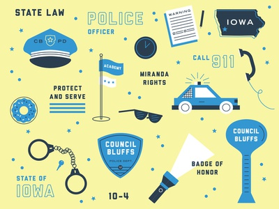 Police Officer Icon Set state badge cop iowa police officer police illustration icon set icons
