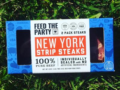 Feed The Party: Strip Steak Packaging illustration frozen pattern beef strip steak meat lovers meat package design package