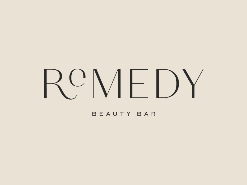 Remedy Primary Logo makeup type typography branding small business beauty clean green natural botanical logo