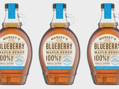 Blueberry Maple Syrup tree taps wood pure maple syrup label design typography label blueberry